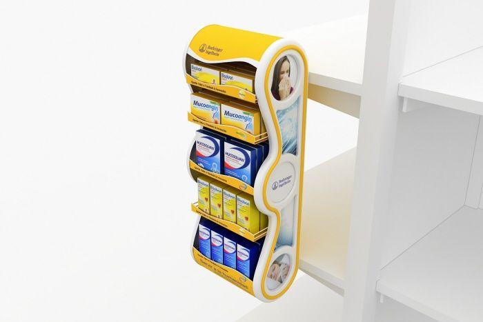 Дисплей-паразит для лекарств - предназначен для крепления на стационарное торговое оборудование, демонстрации и продвижения продукции