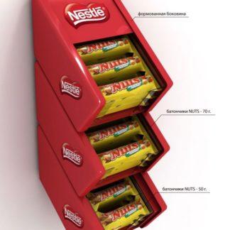 Дисплей-паразит для шоколадок - предназначен для крепления на стационарное торговое оборудование и выкладки товара